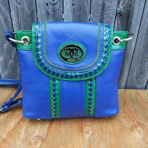 Sharif Pebbled Leather Crossbody Bag Green Blue